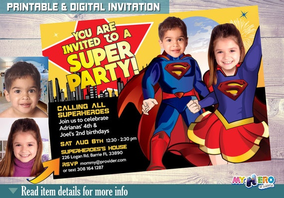 Supergirl And Superman Joint Birthday Party Invitation Siblings Superheroes Brother Sister Invite 116