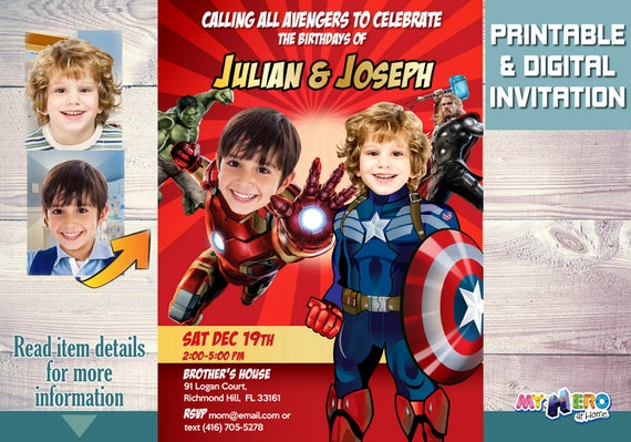 Avengers siblings birthday invitations captain america and ironman il570xn filmwisefo