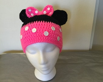 Crochet hat, Mini Mouse hat , mini mouse ears,