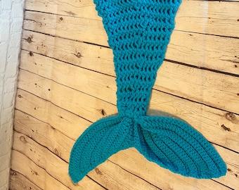 Mermaid tail blanket, Adult, crochet, Mermaid bright blue. (Ready to ship)