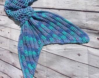 Mermaid tail blanket ocean blue, Mermaid blanket, Crochet (Adult size ready to ship)