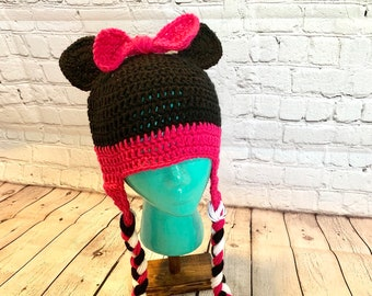 Mini mouse hat, (kids size) crochet mini mouse hat, crochet kids hat, micky mouse ears