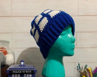 Tardis beanie, Dr. Who inspired, call box, police call box, blue box.
