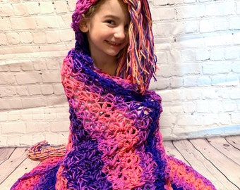 Crocheted  Unicorn hooded blanket, Handmade unicorn blanket, Ready to ship