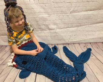 Shark Blanket child/toddler size, crochet (made to order)