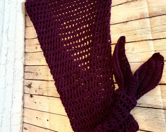 Mermaid tail, kids, blanket, purple, (ready to ship)