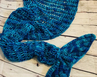 Mermaid tail blanket adult (ready to ship) mermaid tail, blue mermaid tail, ocean, crochetblanket