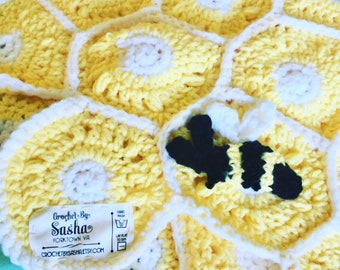 Baby Blanket, Honey Bee , with matching hat. Crochet