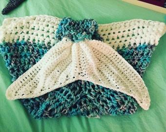 Disney's Elsa inspired crochet mermaid tail blanket (child size)