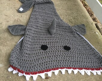 Shark Blanket, (Adult/Teen Size), Grey,Crochet