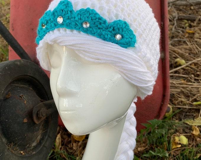 Featured listing image: Crochet Elsa Hat, Elsa, Frozen, Frozen 2, Queen Elsa Hat,  Free Shipping