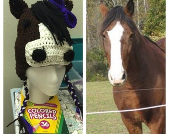 Horse hat , made to order, crochet horse hat, ponies,pony hat