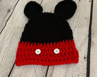 Micky Mouse, disney inspired crochet hat. baby,toddler, child,  adult
