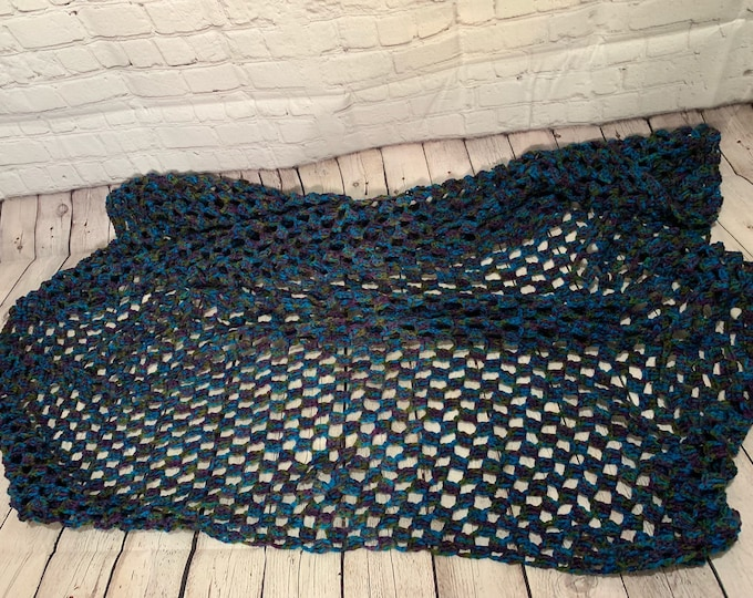 Featured listing image: Crochet Throw, Afgan, peacock colored, greens,purples,blues (ready to ship)