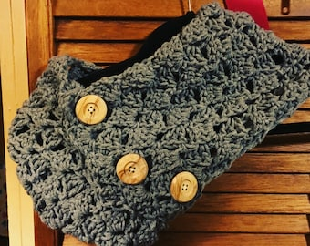 Crochet handmade winter fashion scarf, Scarf, handmade crochet scarf with buttons