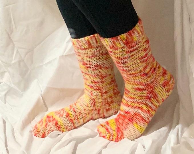 Featured listing image: Handmade Crochet Socks in Electric Lemonade,   (ready to ship)