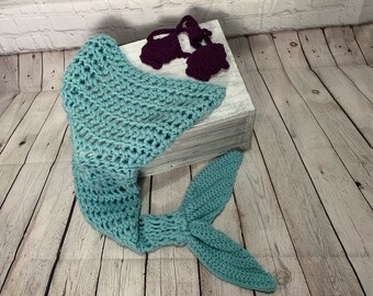 Mermaid tail blanket with shell bra, Toddler size. Photo prop.