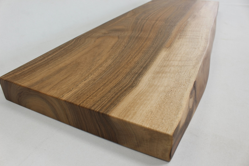 English Walnut Live edge floating shelf Item #438 Complete with Mounting  Bracket,Hardware, and Instructions for Installation 10