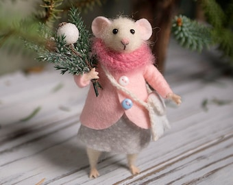 needle felted mouse woolen mouse christmas mouse christmas twig christmas decoration art doll waldorf animal eco friendly