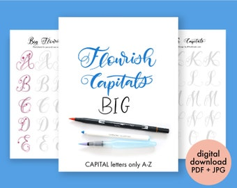 big brush marker flourish capital letters alphabet modern calligraphy lettering printable practice sheets