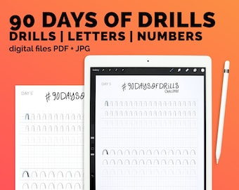 For beginners | calligraphy practice drills, small brush pen, alphabet and numbers. Printable workbook + iPad Procreate