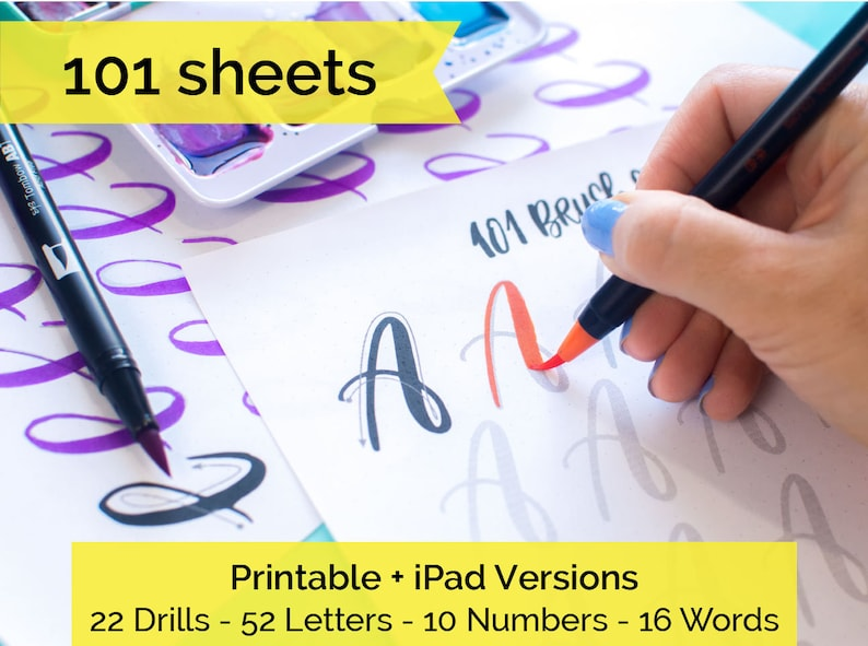 101 worksheets Brush Lettering Calligraphy Practice drills image 0