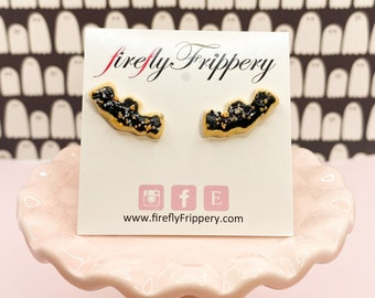 Sugar Cookie Bat Earrings - Spooky Cute Halloween Studs - Black & Orange Trick or Treat Jewelry - Creepy Kawaii Gothic Lolita Goth Girl Gift