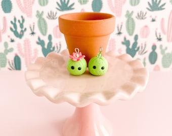 Cute Clay Cactus Charm - Kawaii Cacti Jewelry - Zipper, Planner, Phone, Purse, Backpack Charm - Miniature Cactus Touchstone - Fun BFF Gift