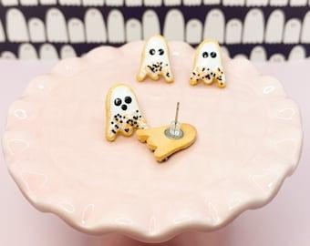 Spoopy Ghost Sugar Cookie Earrings - Cute Haunted Halloween Earrings - Spooky Trick or Treat Jewlery
