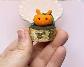 Cute Clay Bunkin - Bunny Pumpkin Sculpture - Miniature Rabbit Fall Figurine