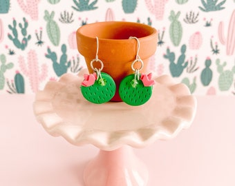 Cute and Chic Cactus Dangle Earrings - Fun Flirty Round Barrel Cactus Jewelry - Green Pink Summer Accessories - Quirky Gift for Girlfriends