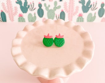 Cute Cactus Earrings - Tiny Round Barrel Cactus Jewelry - Small Pink Green Summer Studs - Clip on Available - Fun Gift for Teen Tween Girls