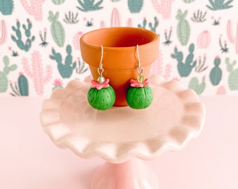 Miniature Cactus Dangle Earrings - Tiny Round Barrel Cactus Jewelry - Pink Green Sculpted Summer Accessories - Fun Gift for Teenage Niece