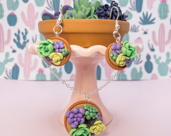 Miniature Faux Succulent Earrings and Pendant - Tiny Purple Green Plant Jewelry Set - Cottagecore Aesthetic Accessories - Cactus Lover Gift