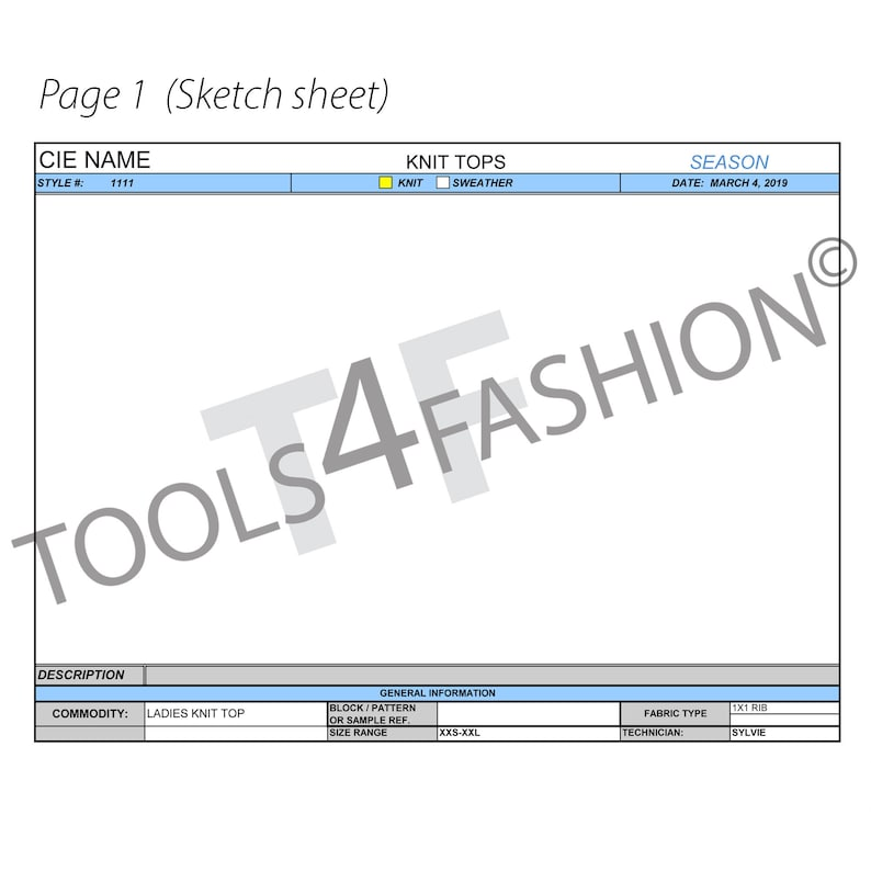 Tech pack template for women - Fashion spec sheets Excel format