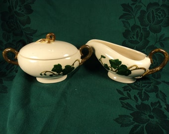 Metlox Poppytrail American Pottery Cream and Sugar Set Country Leaves