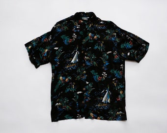3f7f97ac984 90s Vintage Tropical Hawaiian Shirt    Pineapple Moon    Button Front Pocket  Tee    Black Green Pink    Printed Sailboats Floral Palm Trees