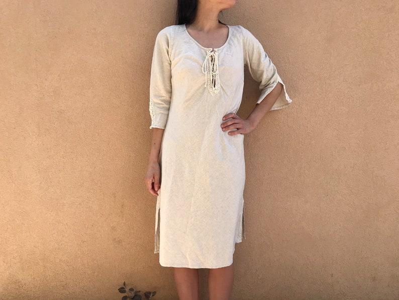 Vintage Woolworths Boho Linen Dress  Lace Detail  Neutral  Minimalist  Natural  Tie Front  Bell Sleeve  Side Slit