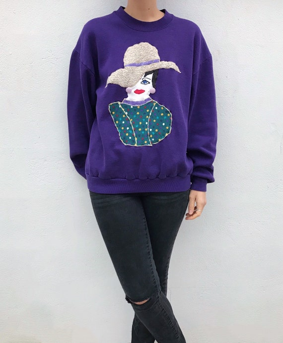 Vintage 80s 90s Purple Sweatshirt // Lady With Hat