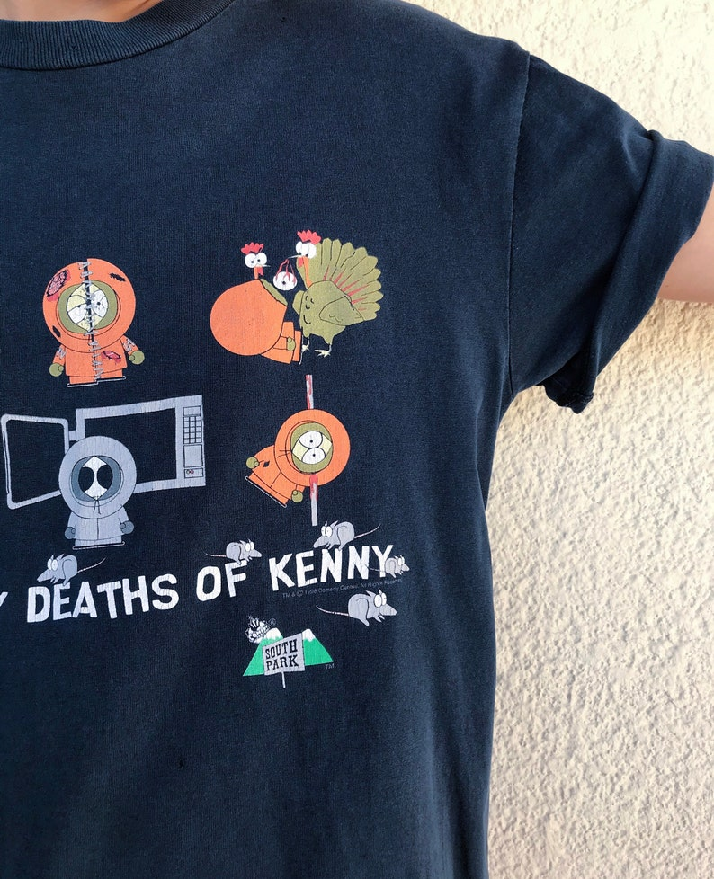 90s Vintage South Park Cartoon T-Shirt  Many Deaths of Kenny  Killed Kenny  Worn In Graphic Tee  Funny  90s Tv Shows  Animation
