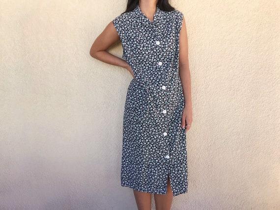 Vintage Flower Power Border Print Sheath Dress Size 8