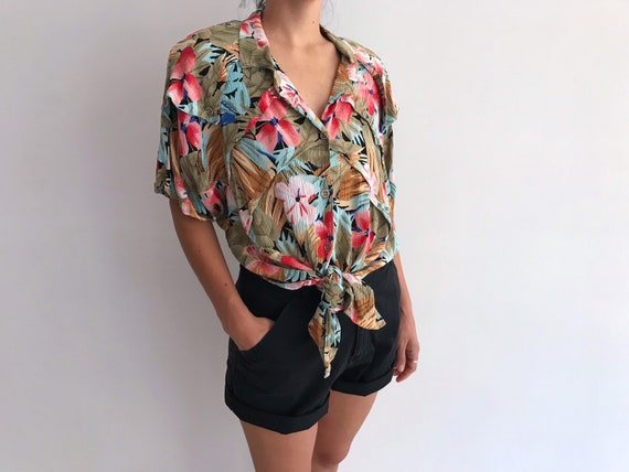 80s Vintage Tropical Floral Tie Front Shirt // Cro