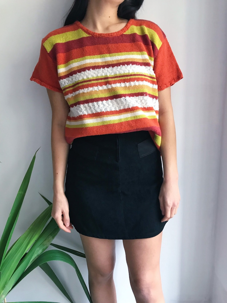 90s Vintage Striped Knit Top  Daisy Knits  Sweater Blouse  60s Inspired  Orange Yellow White  Mod