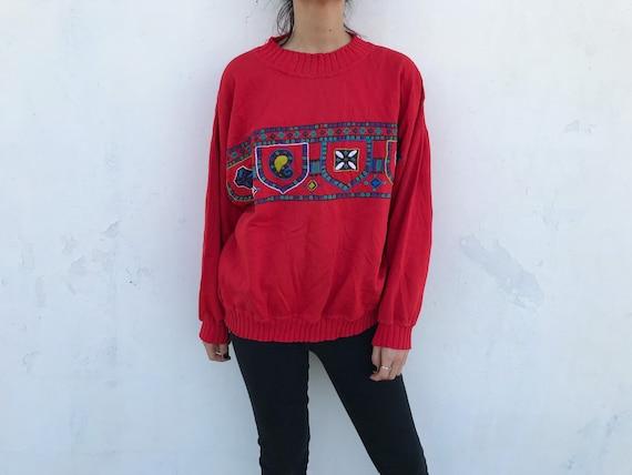 90s Vintage Embroidered Patterned Sweatshirt // Co