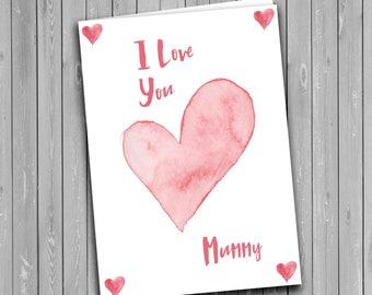 Mummy Card, mothers day card, love you mummy card