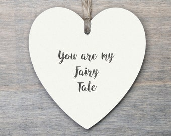 Wooden Hanging Heart, Valentine gift, Love Gift, wedding gift, Fairy Tale...