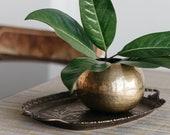 Round Brass Vase - Textured Vintage Globe Vase, Boho Table Decor, Boho Vase, Hammered Gold Vase