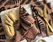 Cloth Napkins - Screen Printed Fern Placemats or Napkins, Sets of 2, 4 or 8, Screen Printed Napkins, Junglelow Home, FREE SHIPPING