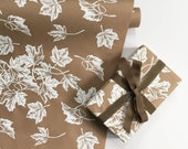 Wrapping Paper | White Maple Leaf Paper Roll, Brown Kraft Wrapping, Fall Decor, Thanksgiving Paper Table Runner, Thanksgiving Decor