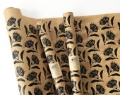 Floral Wrapping Paper Roll | Thistle Gift Wrap in Black, 9 ft Roll, Screen Printed Kraft Paper, Paper Table Runner, Birthday Party Wrapping